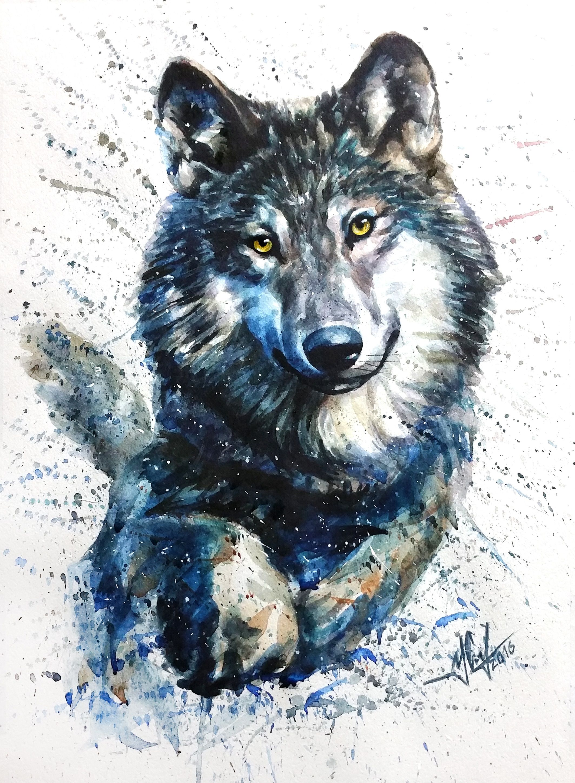 Image by Shutterstock Wolf Head In Watercolor Style Men/'s Tee