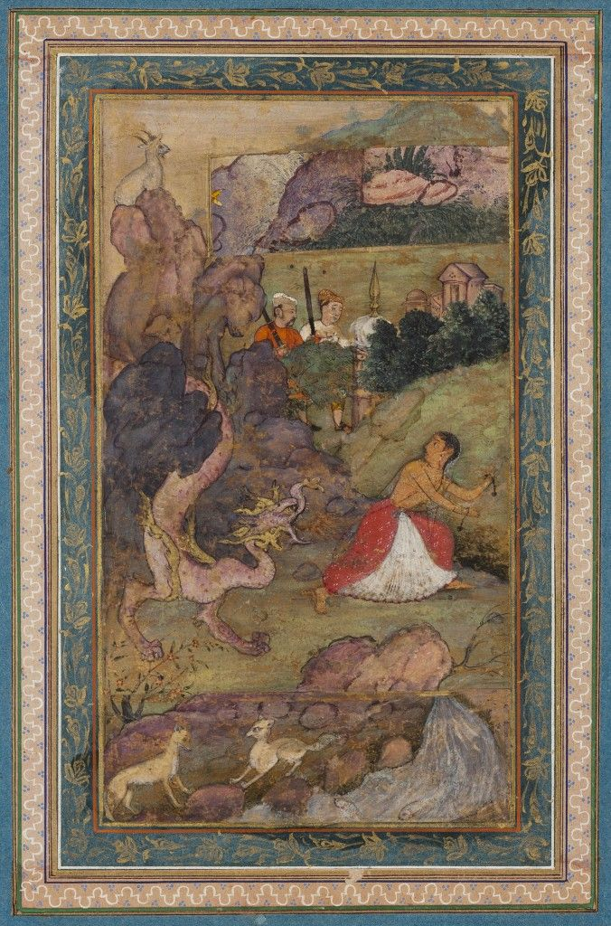 Young woman chased by a dragon. Pigments and gold on paper, India, 1590 – 1610