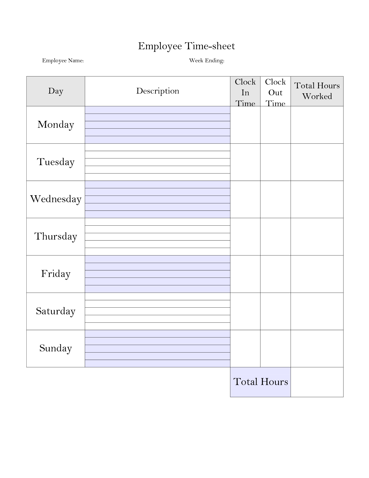 Printable Weekly Employee Time Card