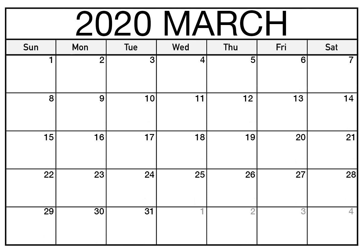 March 2020 Calendar Printable Template In Pdf Word Excel