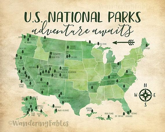 US National Parks Map, Adventure, Mountains, Parks, Rivers, Tribal ...