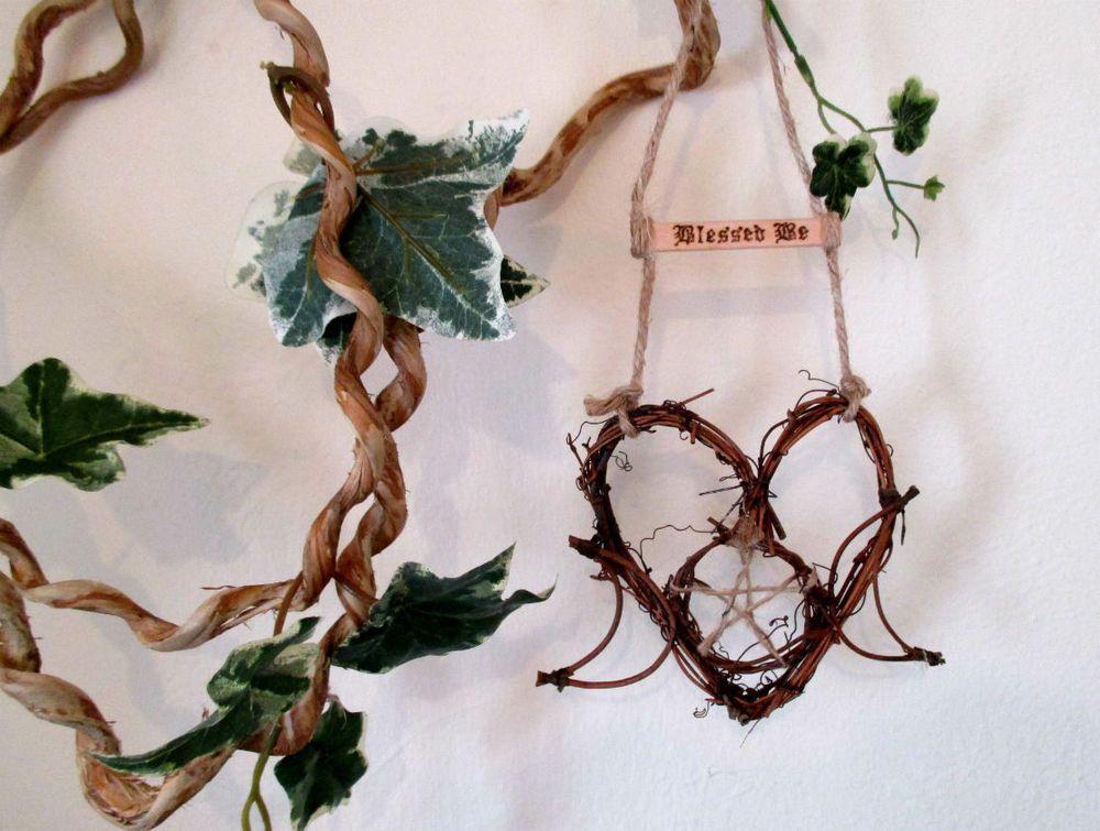 Handmade Pagan Triple Moon Goddess Heart Wreath Witch Kitchen