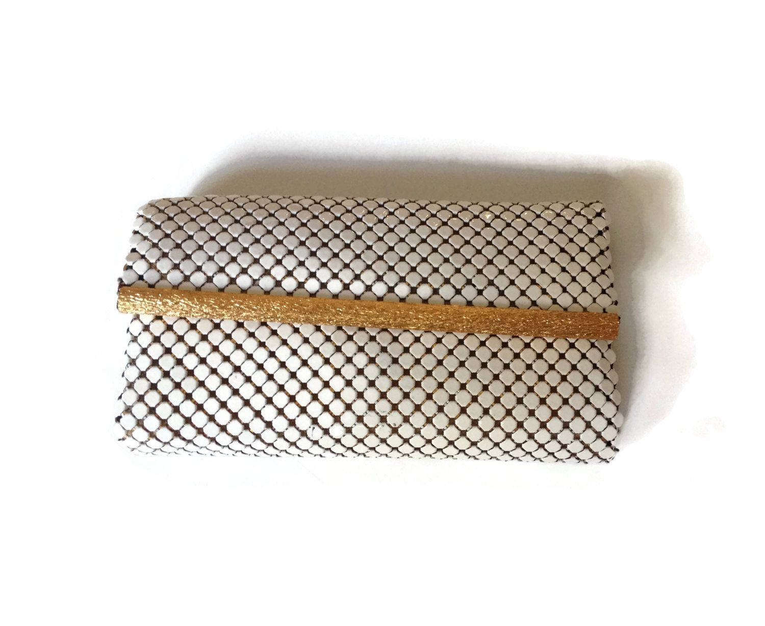 Whiting and Davis White Key Case/Wallet White Metal Mesh with Gold Trim Black satin Liner - pinned by pin4etsy.com