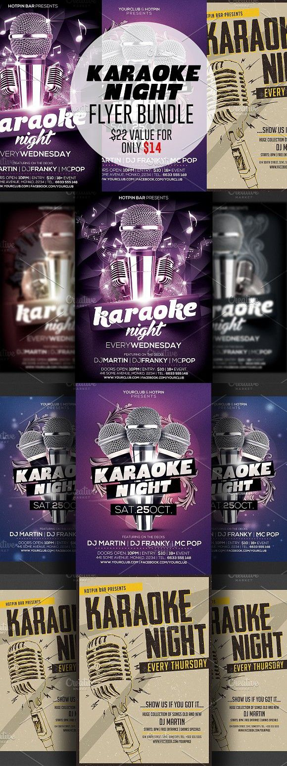 Karaoke Night Flyer Template Bundle Flyer Templates  Flyer