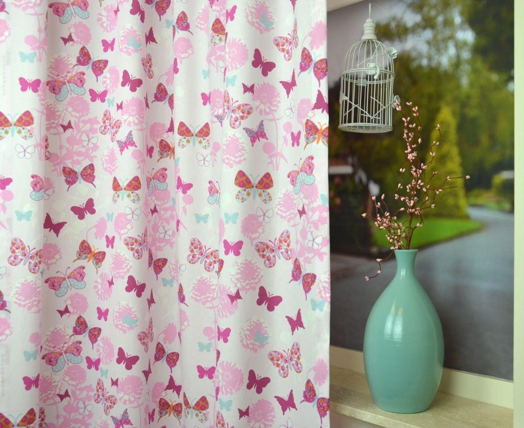Roze Gordijn Vlinder | CRESTED.33.140 | KinderGordijnen | minou ...