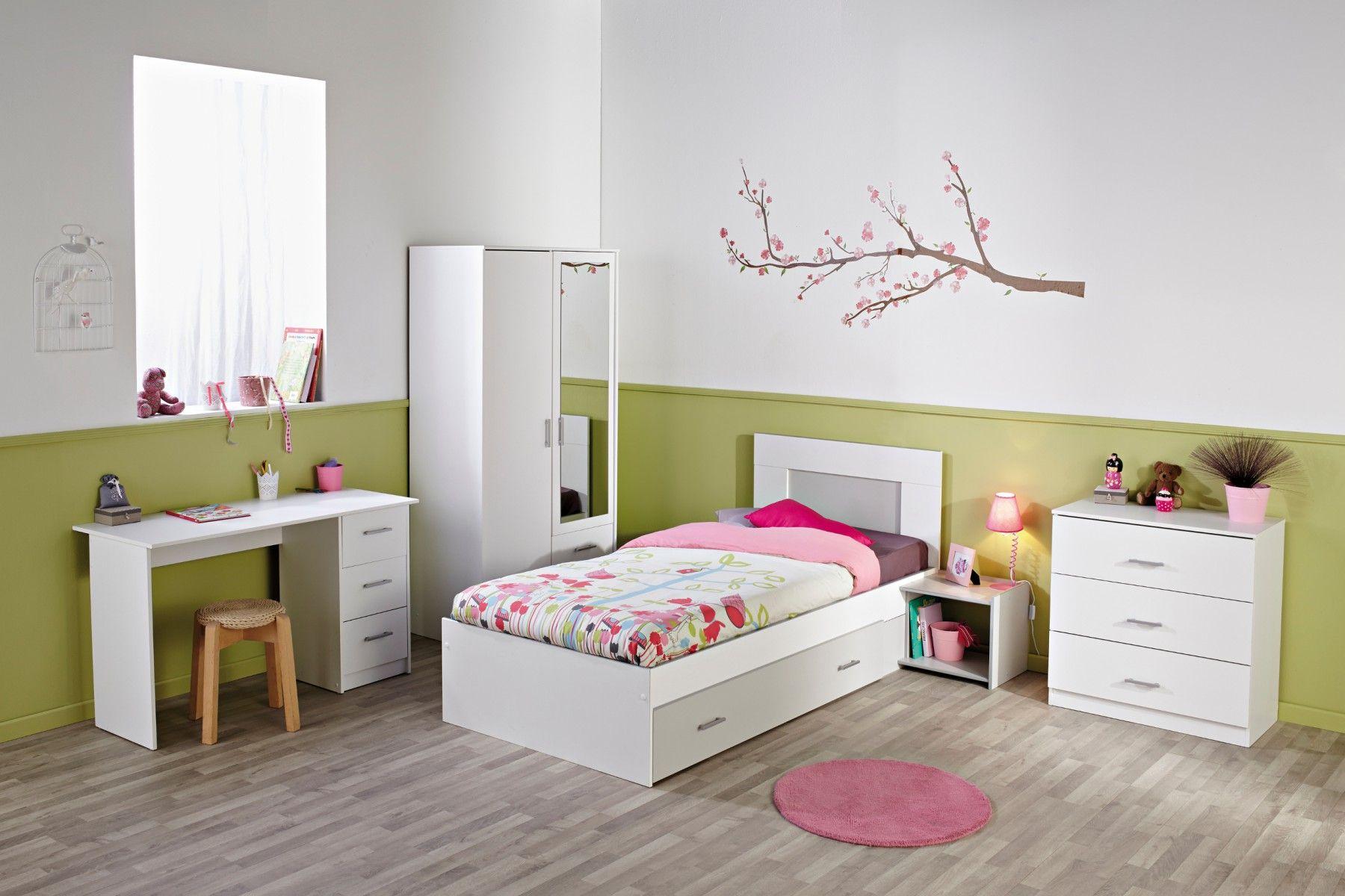 Déco chambre enfant bois blanc et gris june. chambre enfant complète