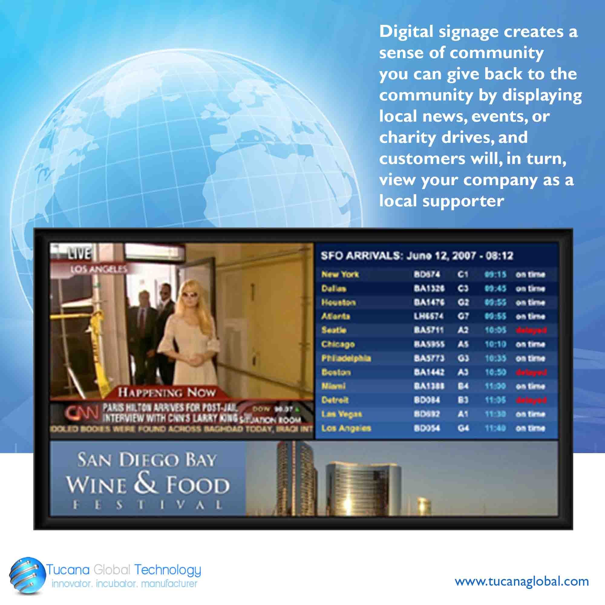 Digitalsignage Creates A Sense Of Community You Can Give Back To The Community By Displaying Local News Events Or Cha Digital Signage Digital Signage
