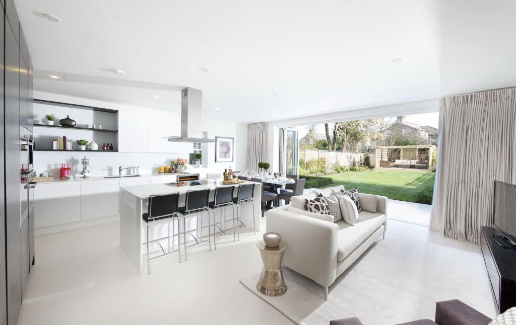 photo of white kitchen living room lounge with breakfast bar and furniture sofa - Sofas For Kitchen Diner