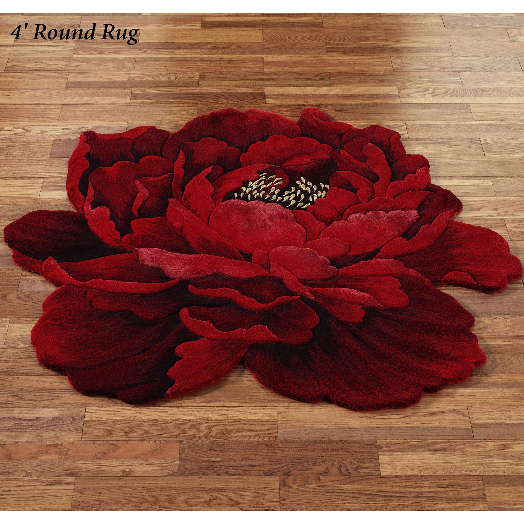 Wow So Interesting And A Conversation Piece Scarlet Magic Peony Flower Shaped Round Rugs