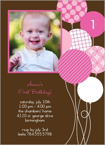 Balloon Motif Pink Birthday Invitation Personalised Photo Cards Custom Greeting Baby Girl 1st
