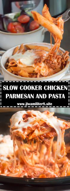 SLOW COOKER CHICKEN PARMESAN AND PASTA - #recipes #slowcookerchicken