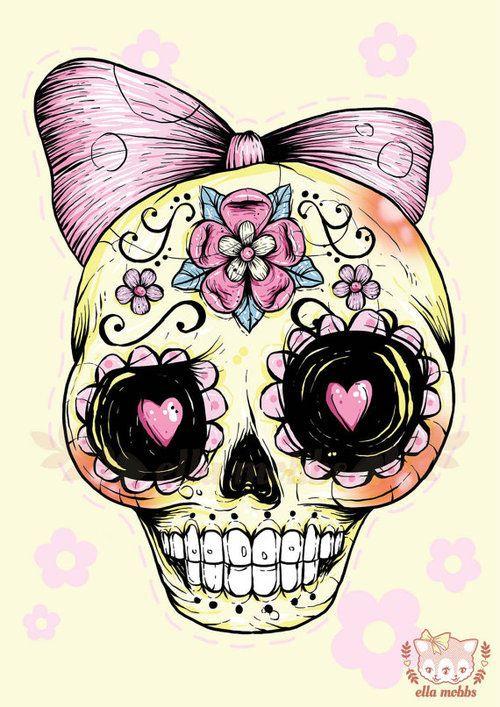 Art Illustration And Death Image On We Heart It Yellow ArtSkull IllustrationSugar