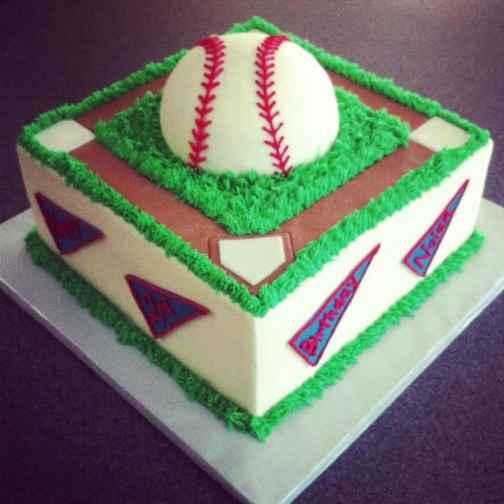 Baseball birthday cake by Sweeten Up Bake Shop Austin Cedar Park