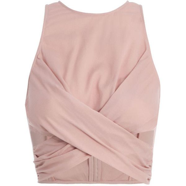 Silk Cotton Wrap Top (2 525 SEK) ❤ liked on Polyvore featuring tops, crop tops, shirts, crop, crop top, summer tops, shirts & tops, wrap crop top and pink silk top