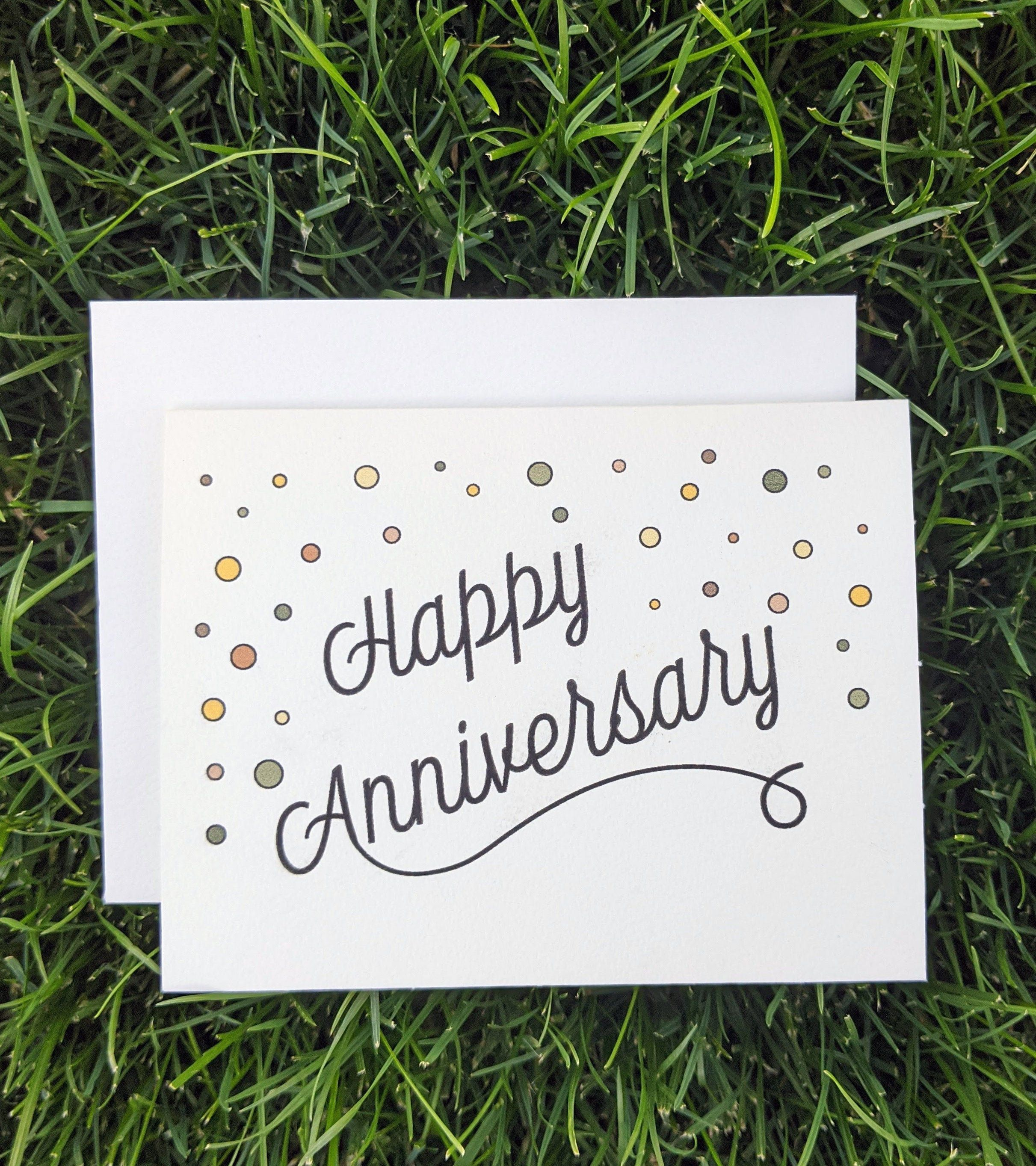 Happy Anniversary Colorful Dots Confetti Cursive Script Card On Textured Card St Happy Anniversary Cards Calligraphy Birthday Card Anniversary Card For Parents