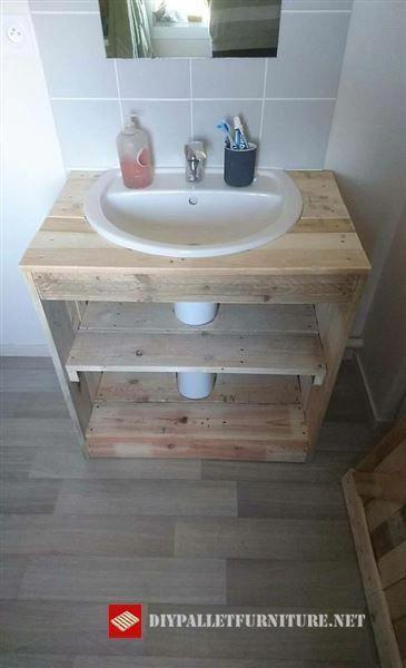 salle de bains palette meuble evier