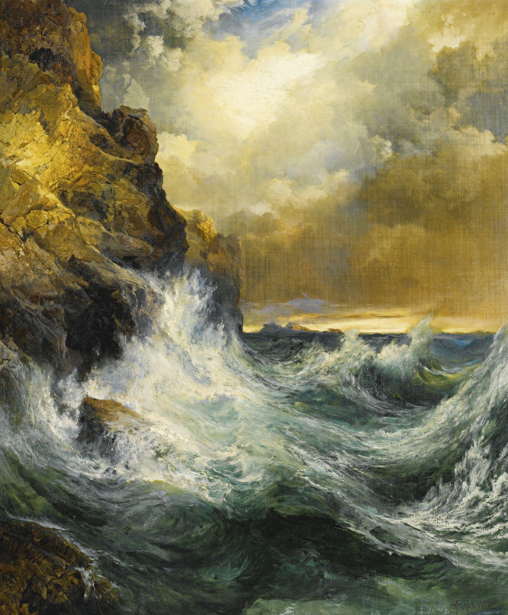 Thomas Moran The Receding Wave Landscape Paintings Seascape Paintings Landscape Art