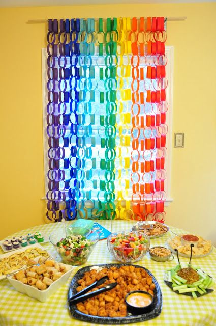 Rainbow Paper Chain Backdrop cute Idea Kids Birthday Party Ideas