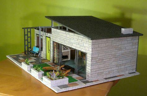 Mid Century Modern House Paper Model Google Search Modern