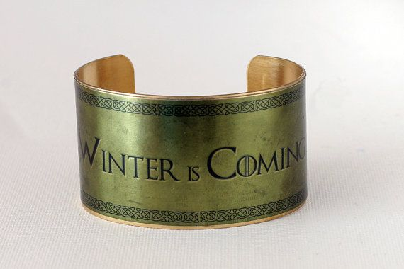 Medium size Brass Cuff with graphic - Game of Thrones - Winter is Coming on Etsy, $32.94 AUD