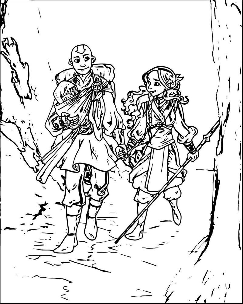 Nomads Aang And Katara Secondlina Avatar Aang Coloring Page