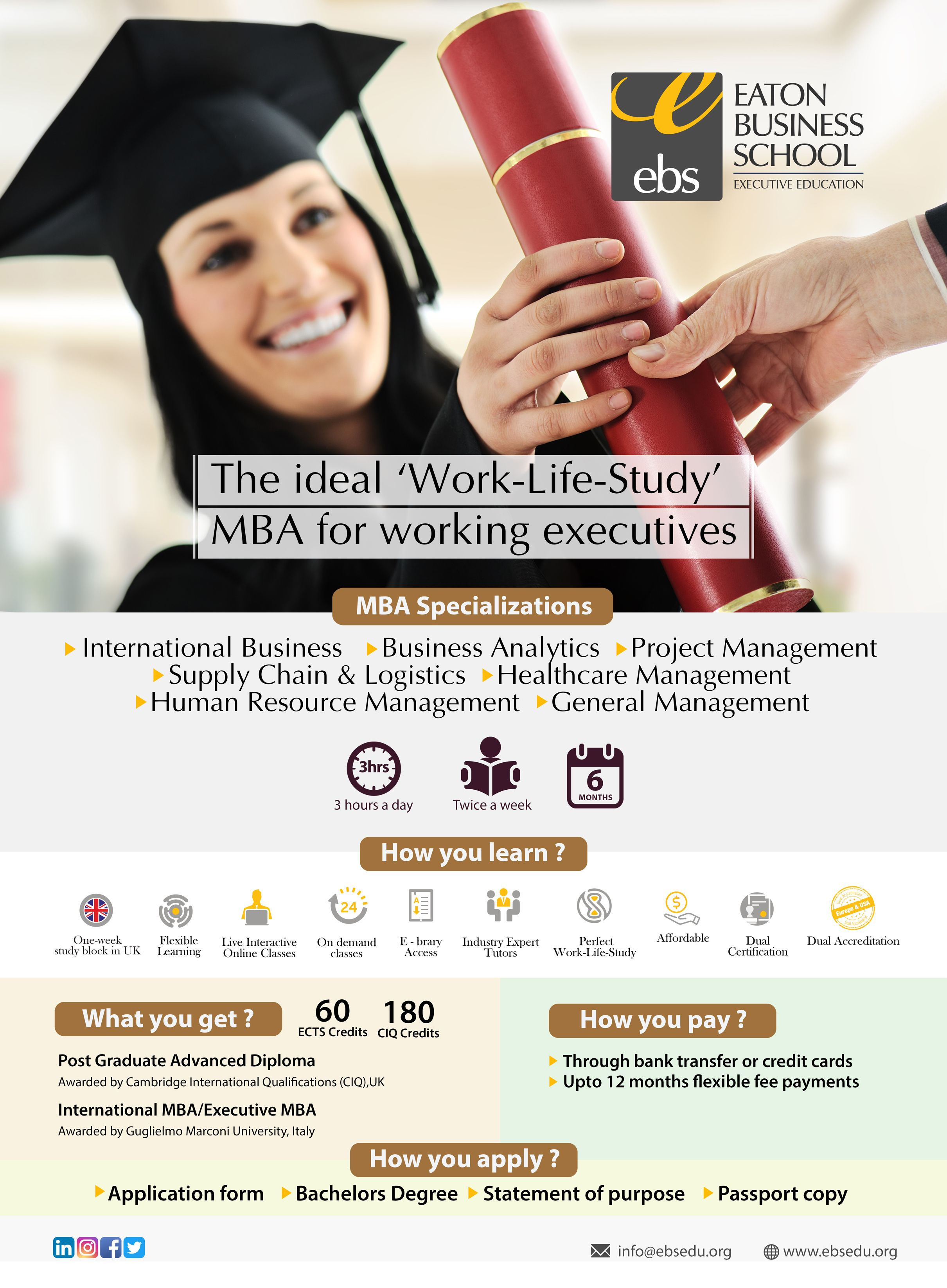 Eaton Business School Ebs In Partnership With Guglielmo Marconi University Gmu Provides The Intern Business School Executive Education Logistics Management