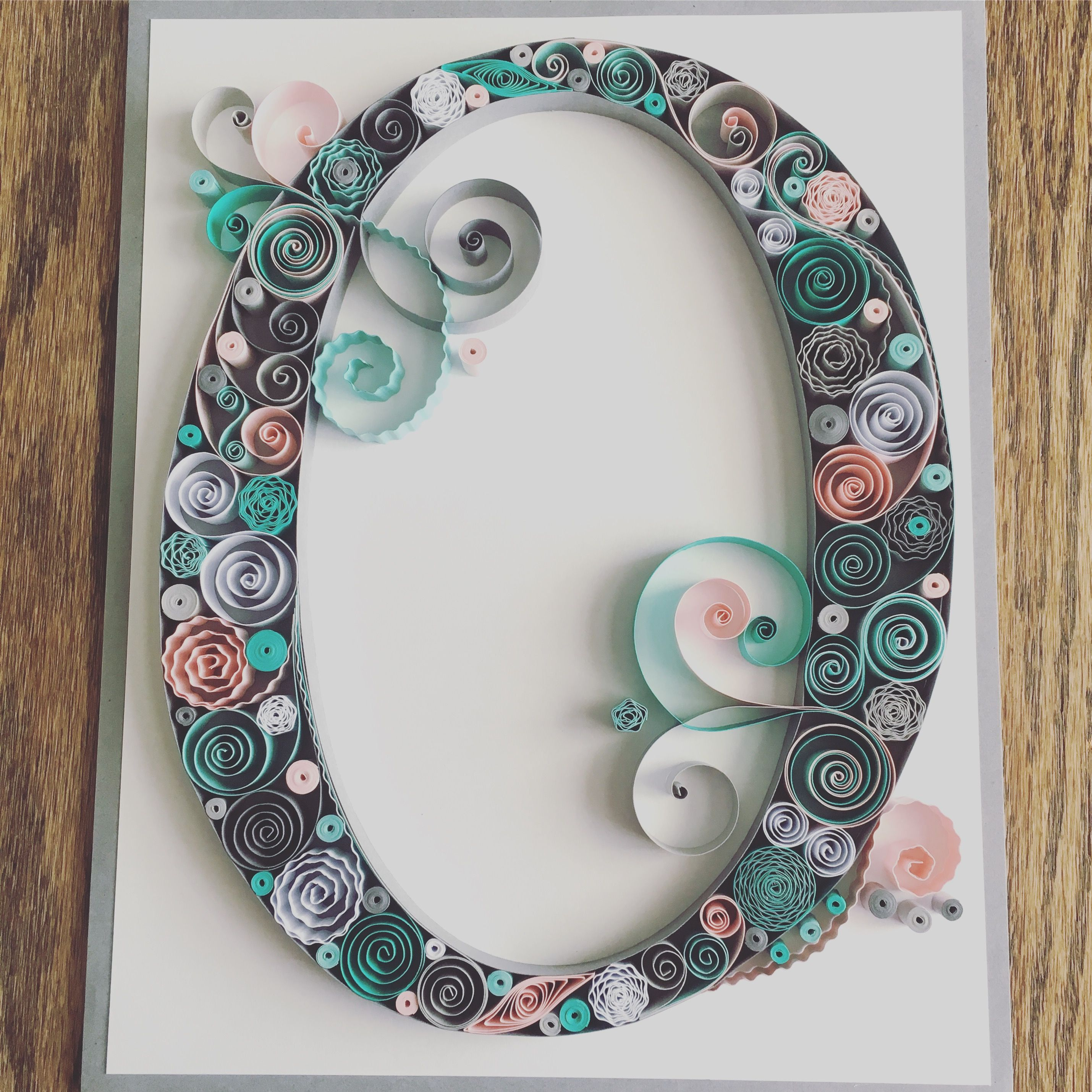 Quilling quilled paper monogram letter o baby girl for Quilling home decor