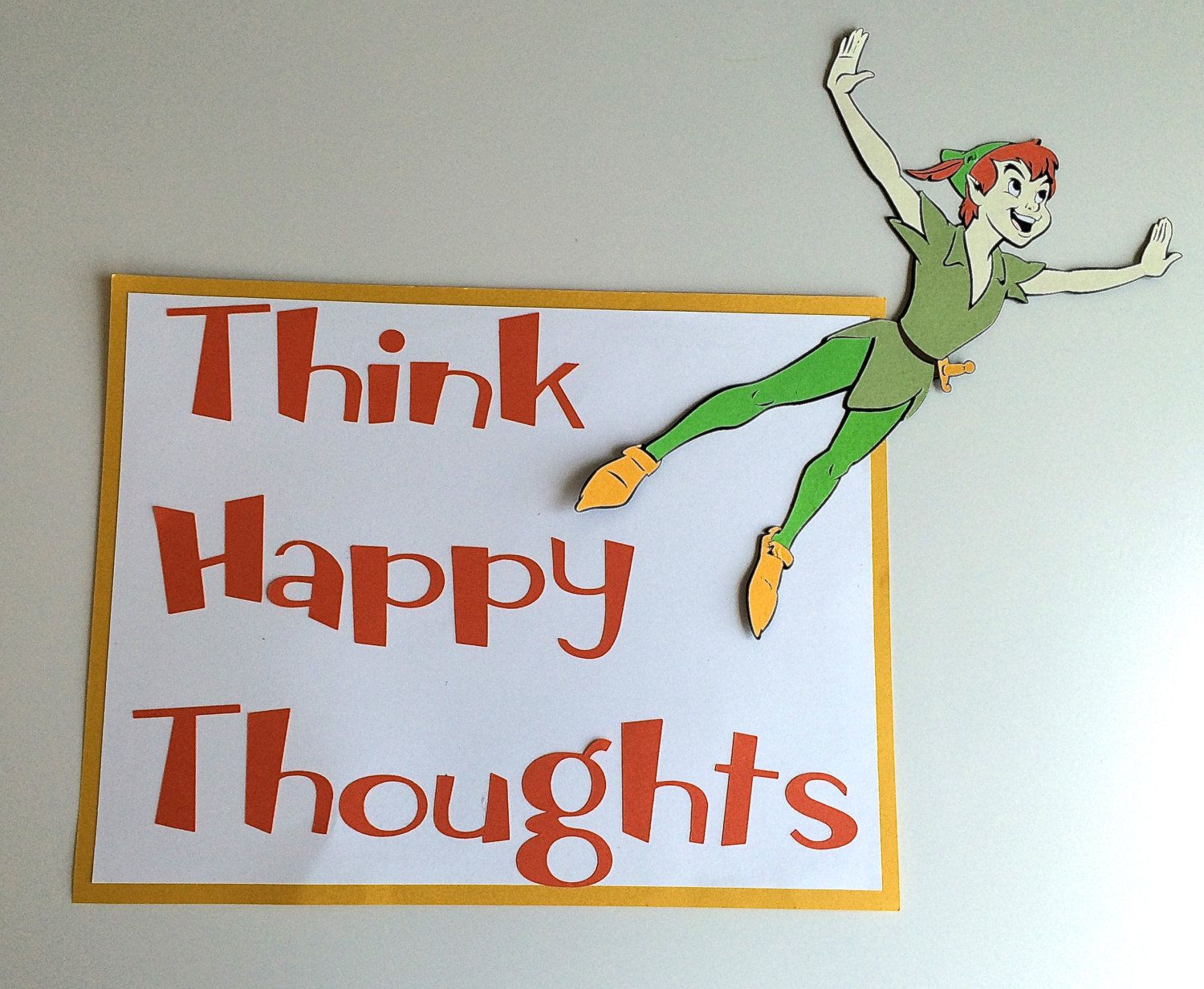 Peter Pan Think Happy Thoughts Sign By Thumbtacksandpaper