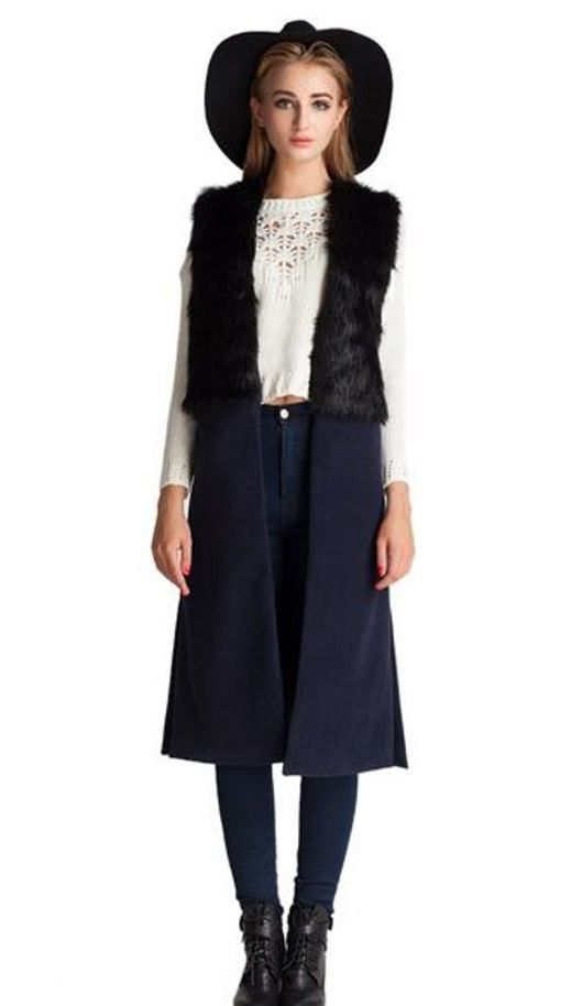 Black Vintage Long Waistcoat with Fur Panel | #USTrendy  www.ustrendy.com