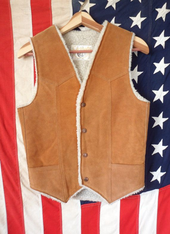 Vintage Cowhide Sherpa Vest // Unisex Tan Leather by TheVelvetMoon, $29.00
