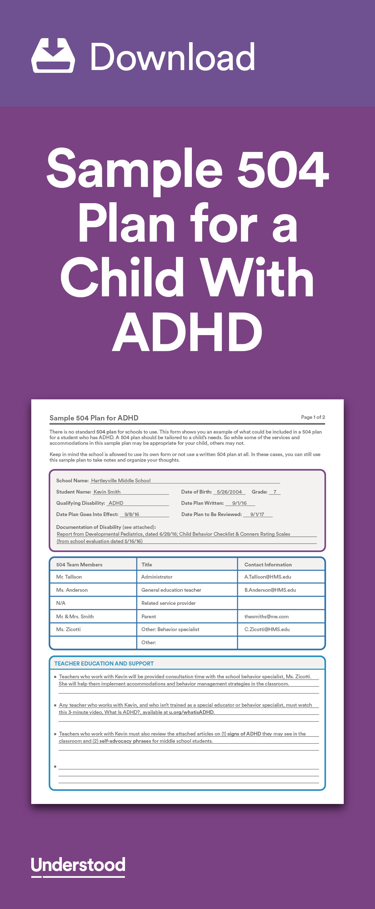 Download Sample 504 Plan For A Child With Adhd Adhd And Attention