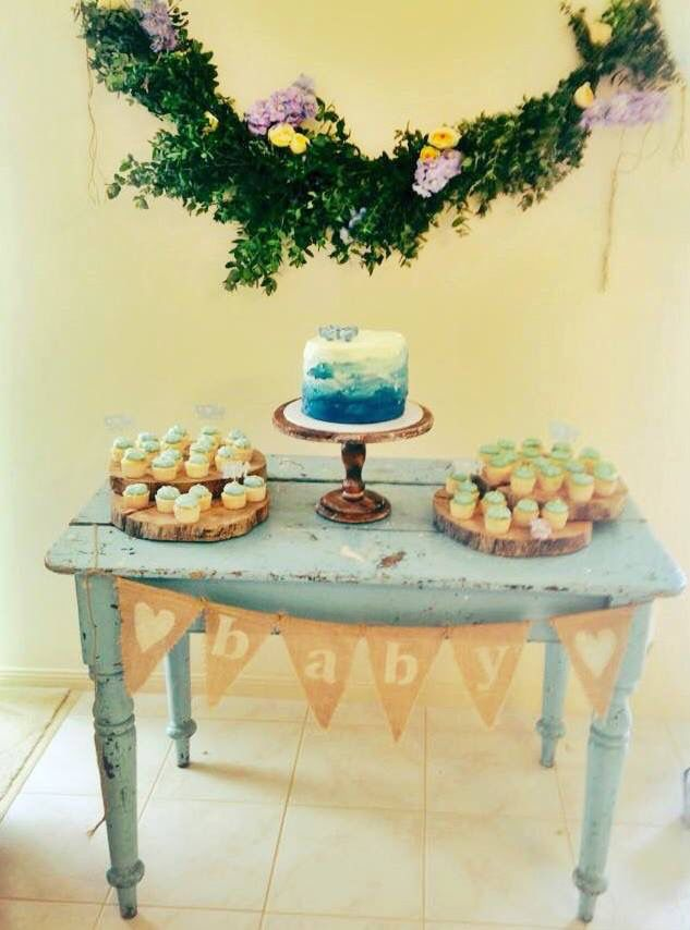 Vintage blue painters table /tree slices/ wooden cake stand and ...