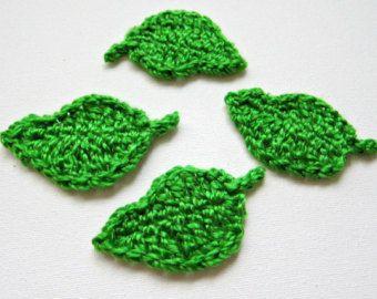 Artículos similares a 3 crochet apliques de hojas, hojas de abedul oro en Etsy