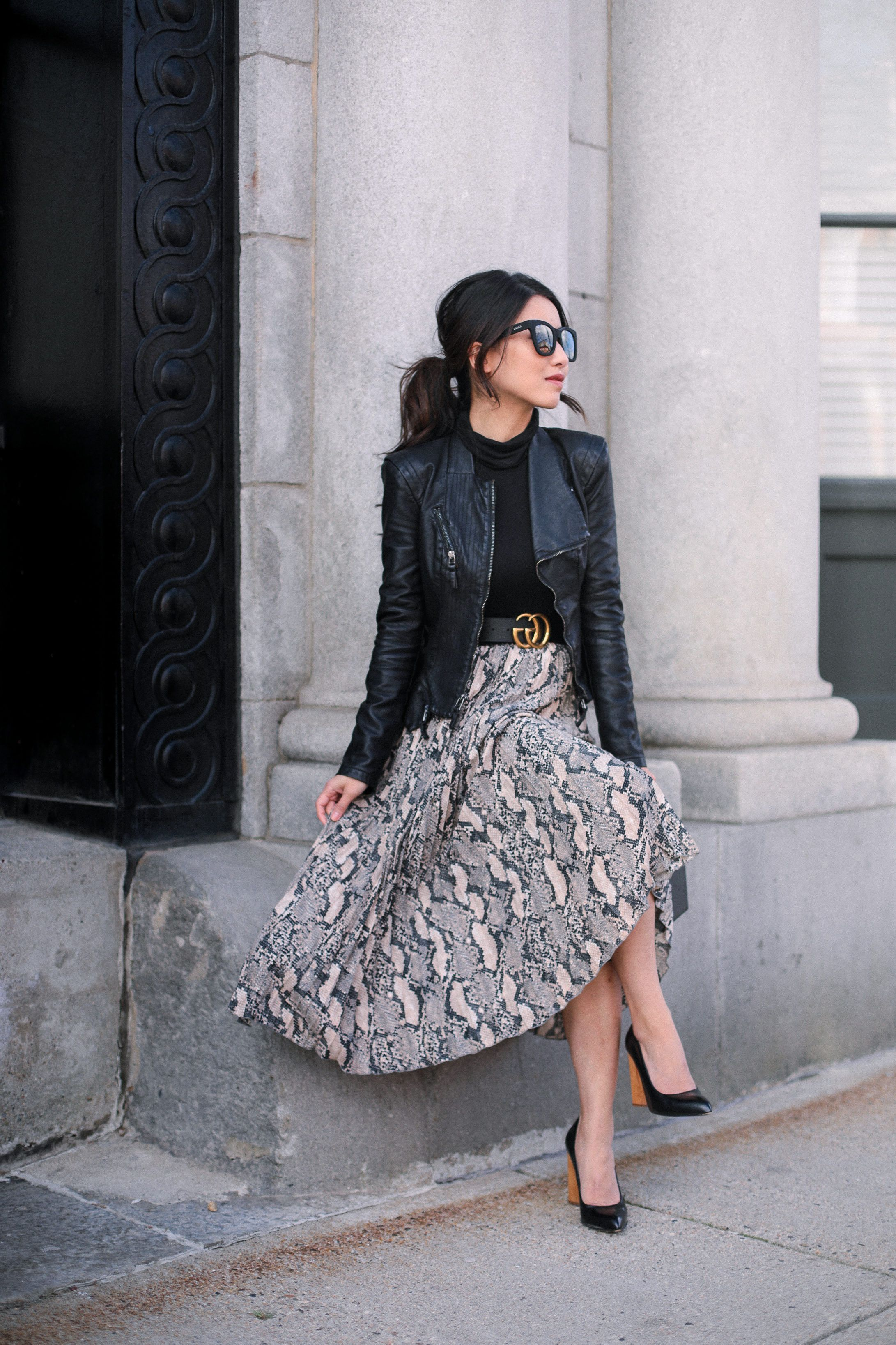 Petite leather jacket + pleated skirt