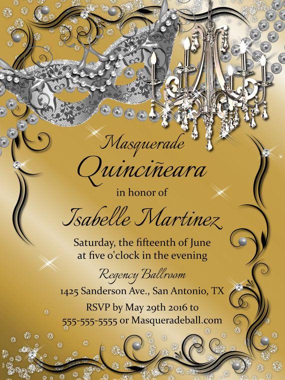 Chandelier Masquerade Gold Quinceanera Invitation Sweet 16