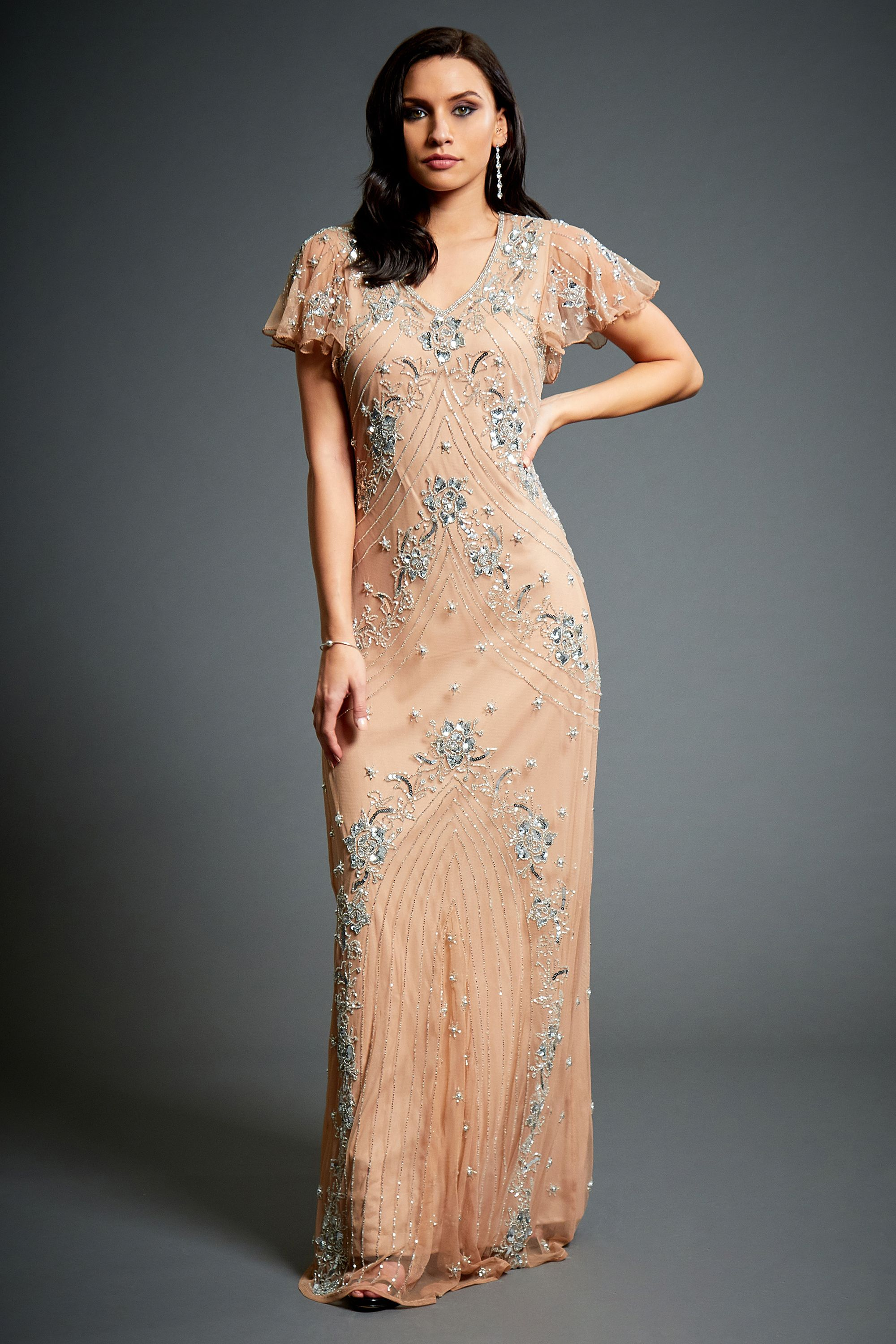 Lucy Embellished Dress, 1920s Great Gatsby Style, Floral Bridesmaid ...
