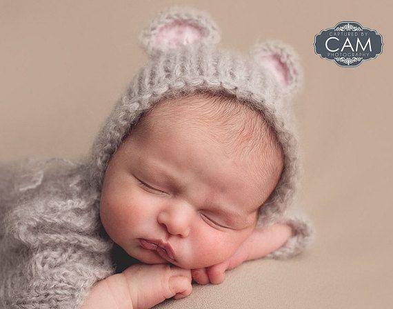 Mouse bonnet fluffy alpaca baby hat newborn bonnet baby photo prop sitter size bonnet alpaca mouse hat uk seller knit bonnet