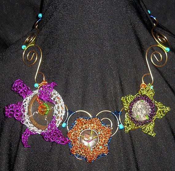Tri Floral Wire Crochet Necklace crafted of 26 & 28 gauge colored ...
