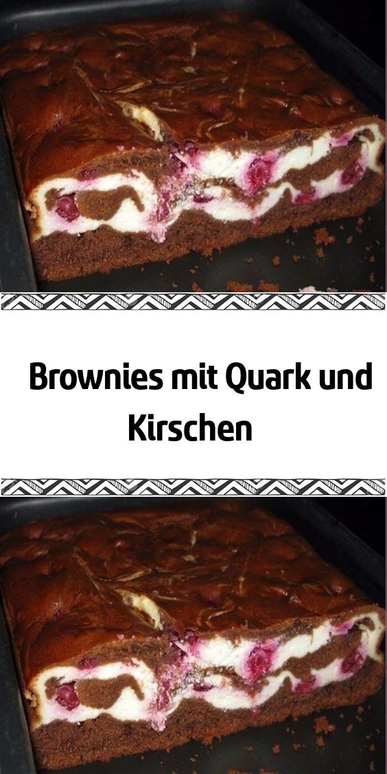 Brownies Mit Quark Und Kirschen Schokoladen Kuchen Schokoladenkuchen Lecker