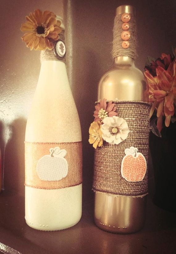 Decor Bottles Classy Fall Handmade Personalized Decorative Wine Bottles Etsy $2000 Design Ideas