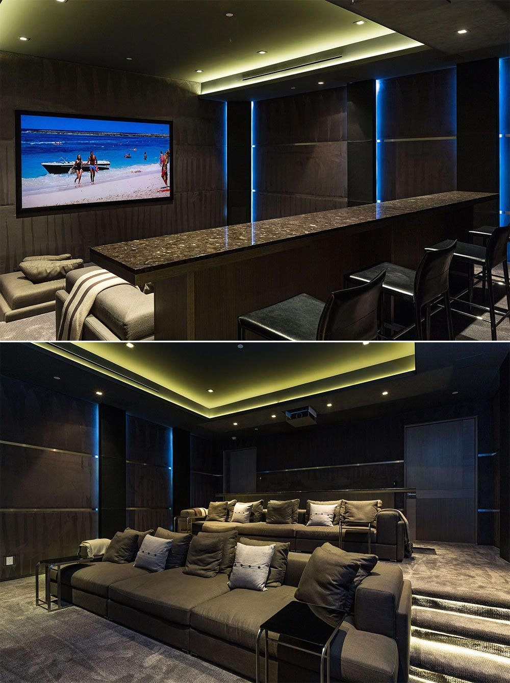 Luxury Home Theater With Custom Marble Bar. A Perfect