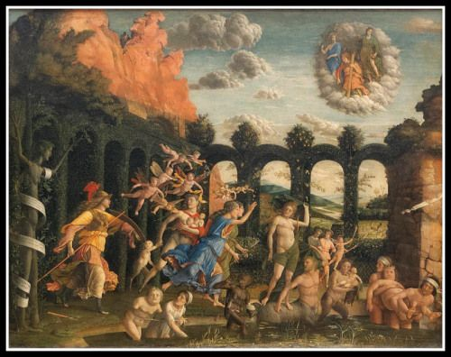 """""""Pallas and the Vices"""" (Minerva Expelling the Vices from the Garden of Virtue), by Andrea Mantegna (1502)."""