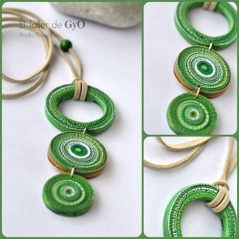 Collar Rotto Verde Arcilla Polimerica Joyeria De Filigrana De Papel Collar De Arcilla Polimerica Joyeria De Cuentas De Papel