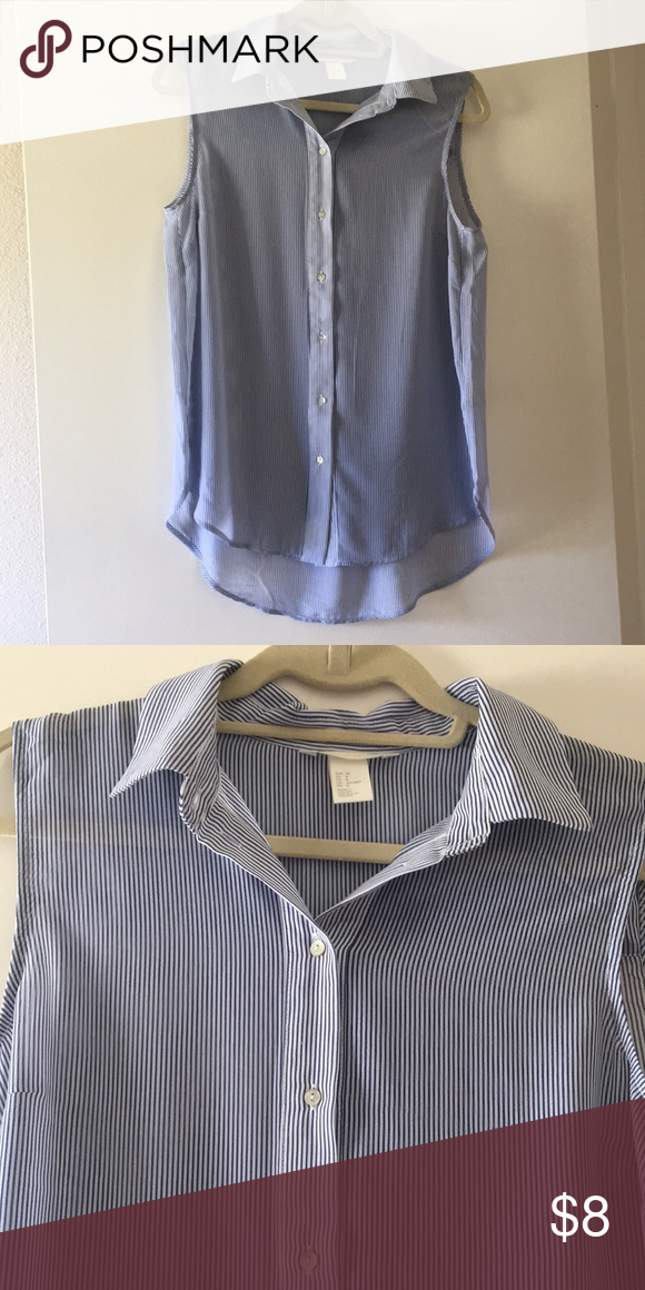 92383db59d H&M sheer button down blouse H&M sheer button down blouse with vertical  stripes. Tag has
