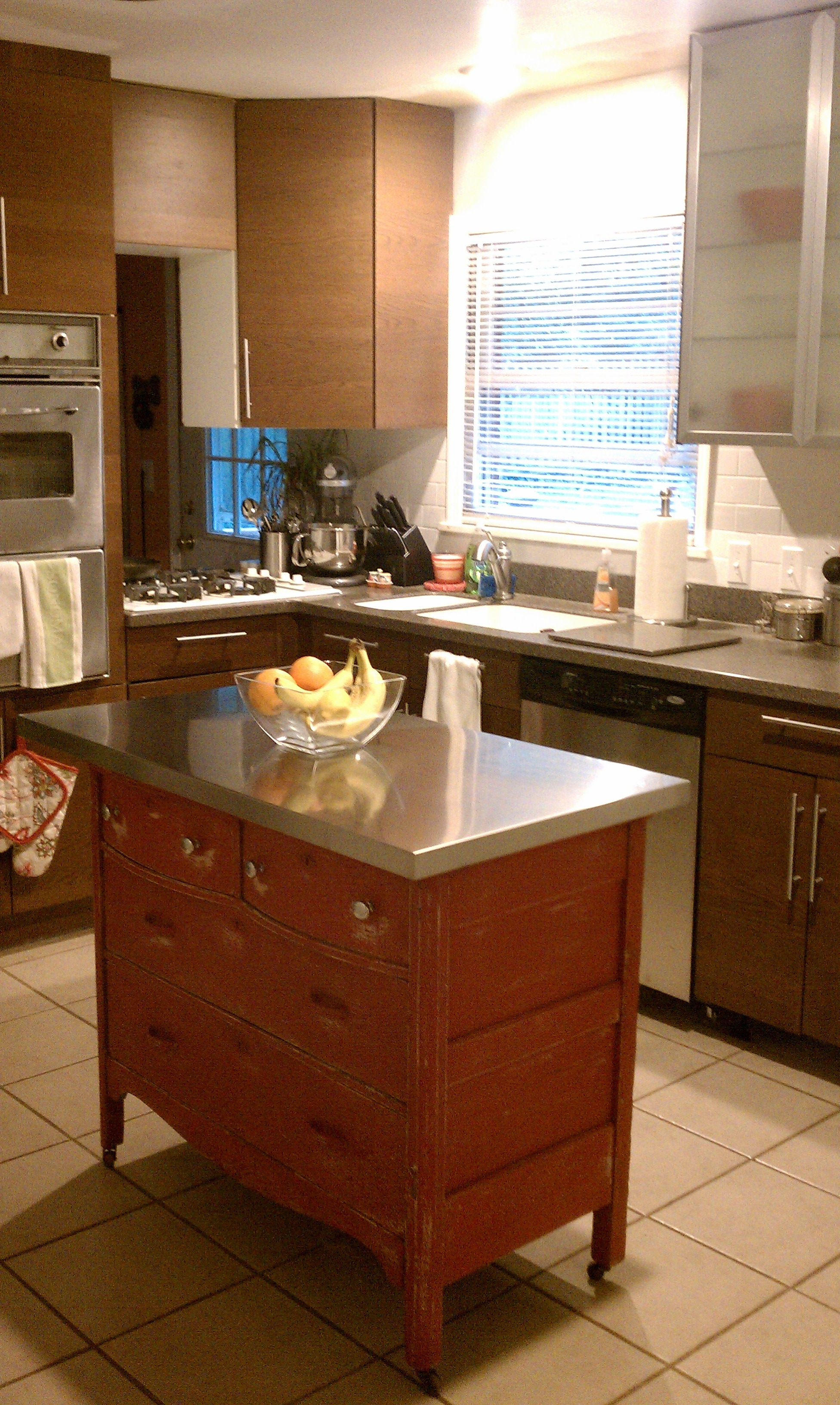 Dresser Island With Ikea Stainless Steel Top Kitchen Tops Kitchen Kitchen Inspirations