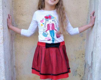 Designer cotton skirt for girls, tulle toddler skirt, toddler girl skirt. christmas skirt girls, winter skirt, high fashion girls