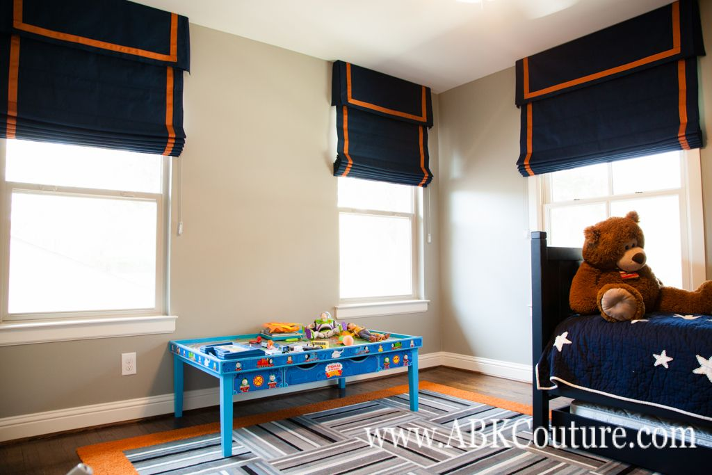 Banded roman shades navy canvas from trend fabrics for Fabric for boys room