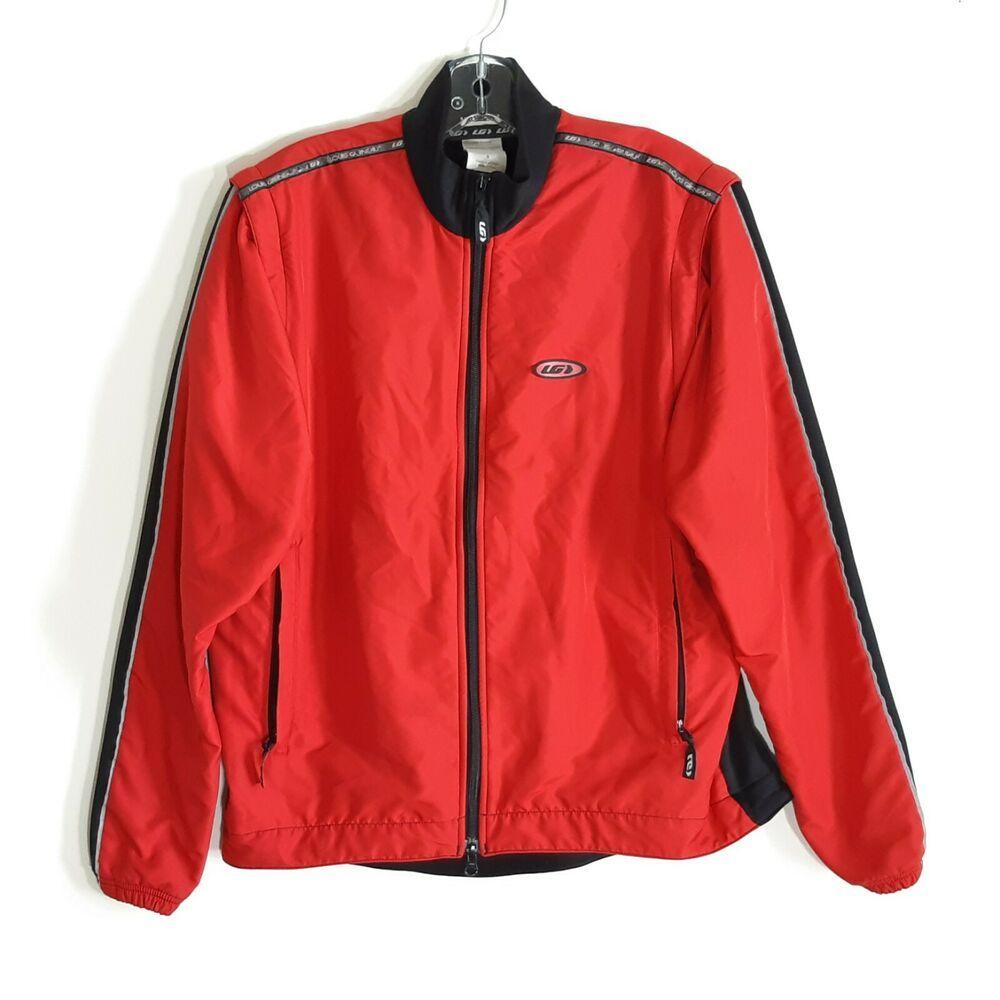 Cycling jacket vest red convertible louis garneau mens s