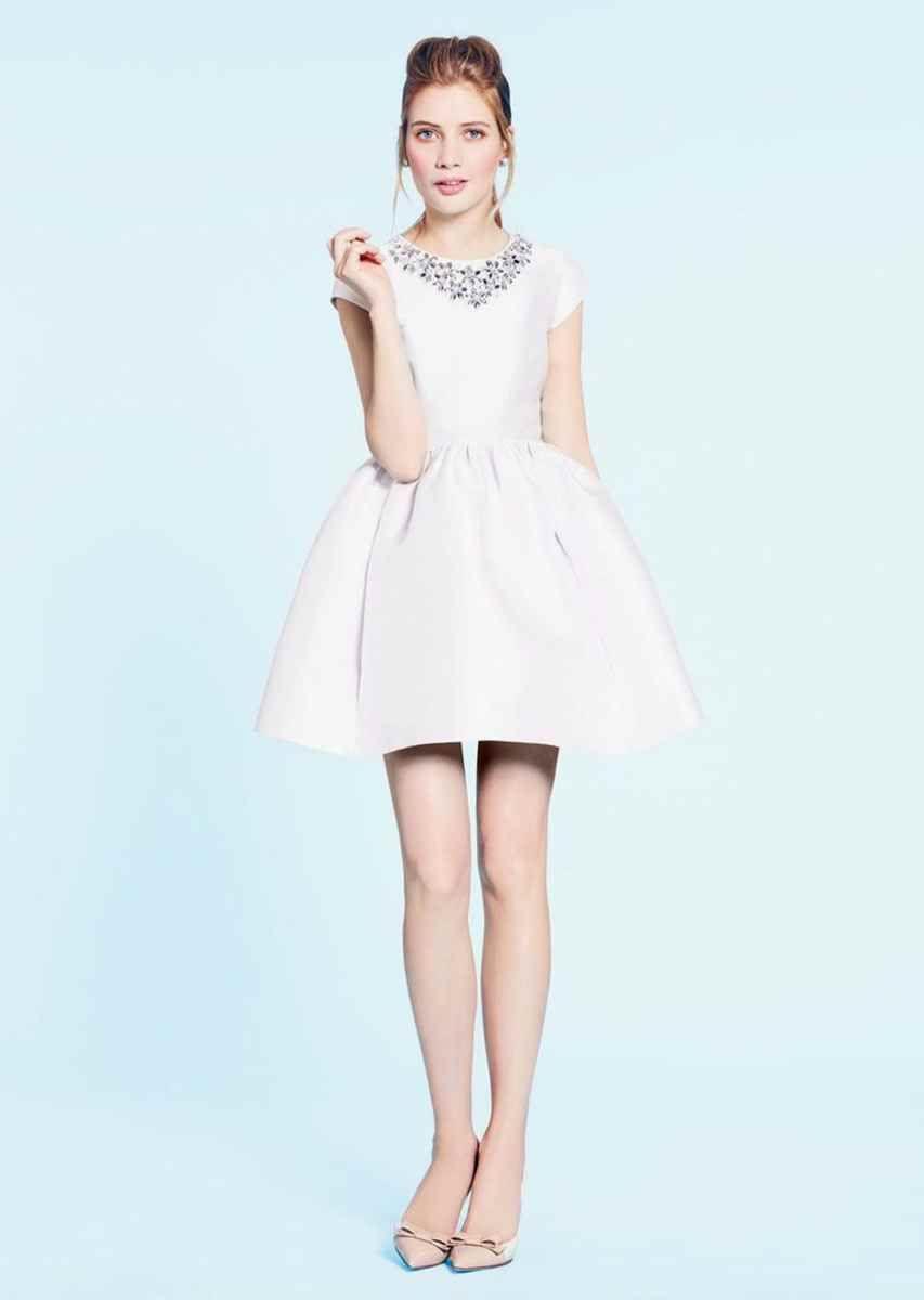 Kate spade short white cap sleeve wedding dress gowns dresses tea