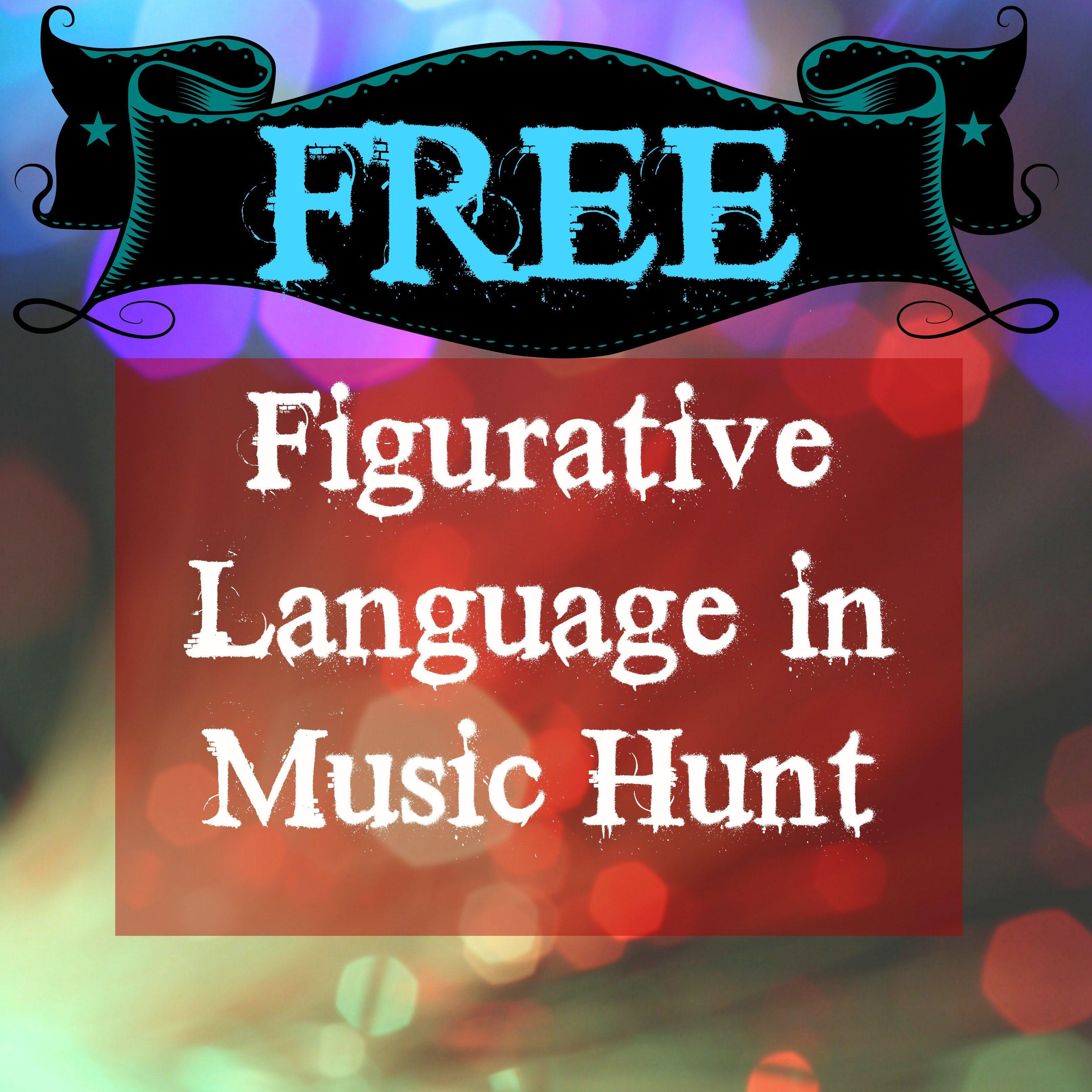 Figurative Language In Music Hunt Free My Teacherspayteachers